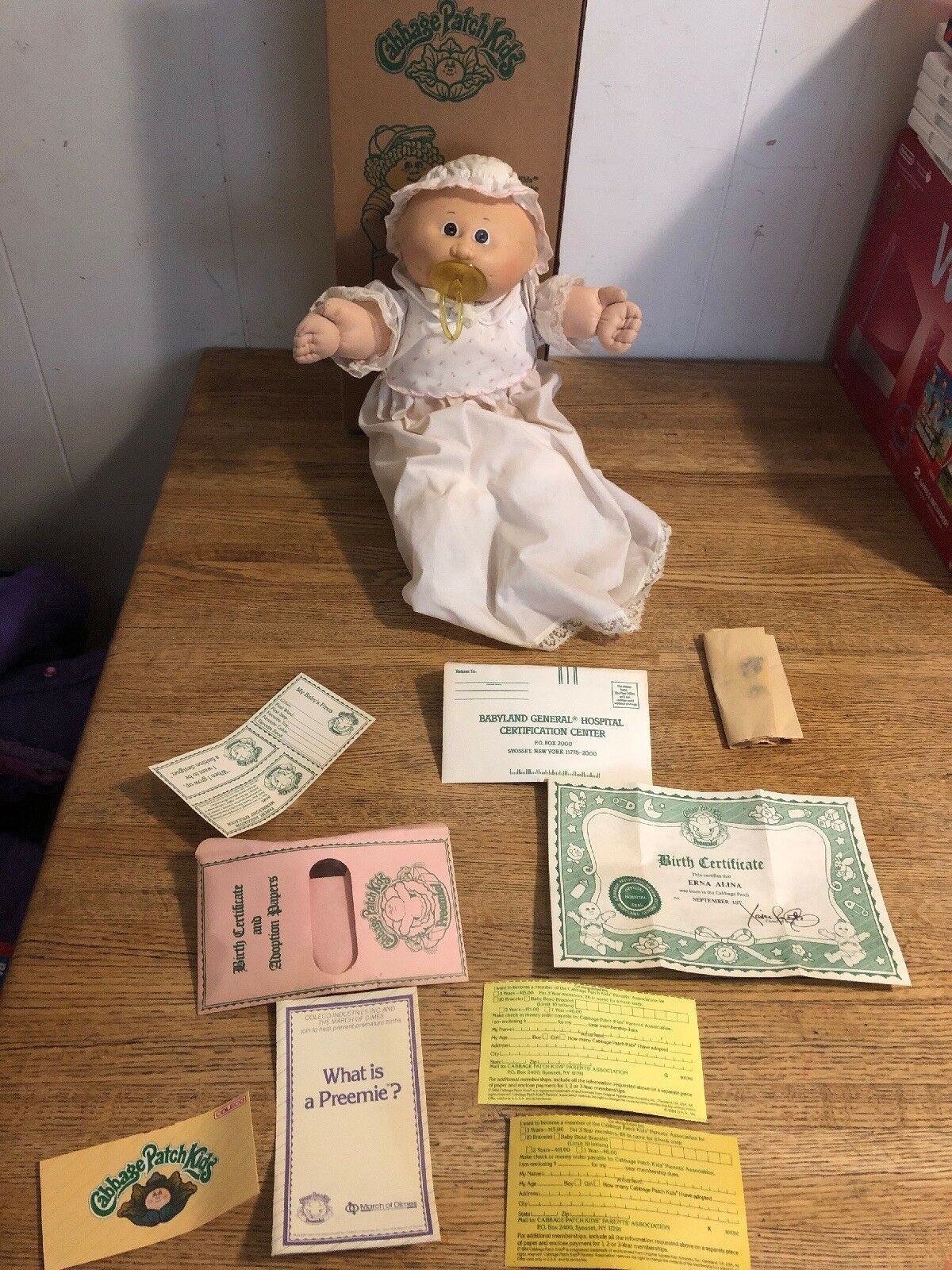 Cabbage Patch Kid Girl Erna Alina September 1st Box And All Great Shape 1985