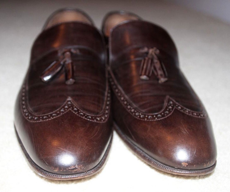 Zapatos Zapatos Zapatos de cuero Salvatore Ferragamo Para Hombre Borla de largo de extremo de ala Mocasines marrón 59cc54