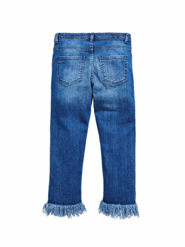 Girls Ruffle Edge Jeans in Mid Wash Size 10 11 12 13 14 15 16 Free UK P/&P