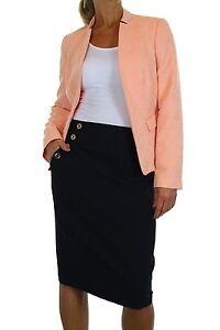 NEW-6304-1-Ladies-Brocade-Bolero-Peach-Jacket-With-Black-Skirt-Suit-Size-10