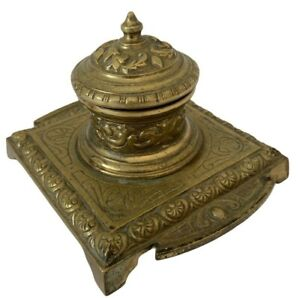Antique-Brass-Inkwell-Germany