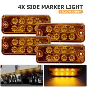 4-Stueck-LED-Seitenmarkierungsleuchten-LKW-Seitenleuchte-Gelb-12-Volt