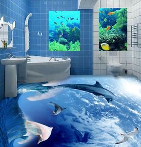 3D Dolphins Stormy 53 Floor WallPaper Murals Wall Print 5D AJ WALLPAPER UK Lemon