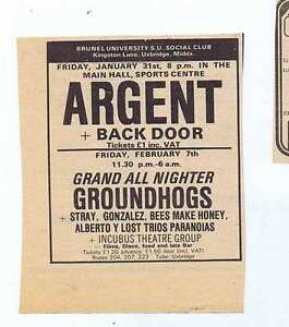 ARGENT  GROUNDHOGS  BRUNEL UNI  PRESS CLIPPING 9X10cm 1975 1275 - Bournemouth, United Kingdom - ARGENT  GROUNDHOGS  BRUNEL UNI  PRESS CLIPPING 9X10cm 1975 1275 - Bournemouth, United Kingdom