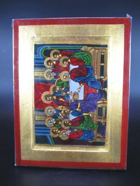 Icono ,Bizancio, Jesus el Última Cena, 24cm Icon Grecia Madera Maciza