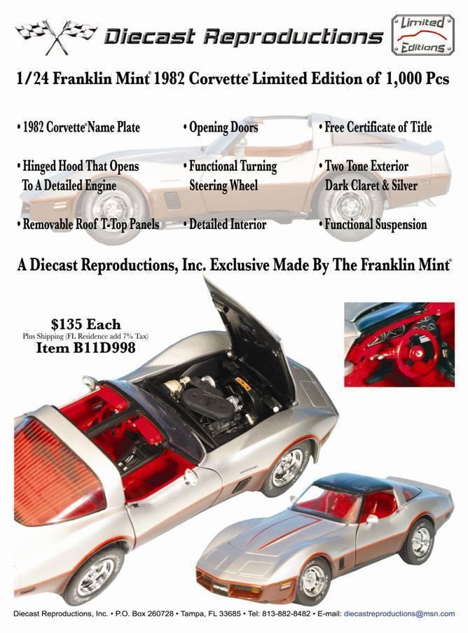 ahorra hasta un 80% Nuevo 1 24 Franklin Mint oscuro Clarete rojo rojo rojo y plata 1982 Corvette T-Tops B11D998  nuevo listado