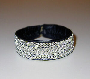 Image Is Loading Swedish Pewter Bracelet Saami Reindeer Leather Nr56 New