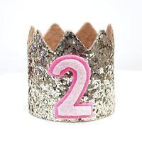 Gold Glitter Sparkles Pink 2nd Birthday Girl Hat Party Crown Toddler 2 Birthday
