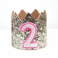 Gold Glitter Sparkles Pink 2nd Birthday Girl Hat Party Crown Toddler 2 Birthday