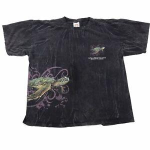 VTG-GUMBO-LIMBO-NATURE-CENTER-FLORIDA-ALL-OVER-PRINT-SEA-TURTLE-BLACK-T-SHIRT-XL