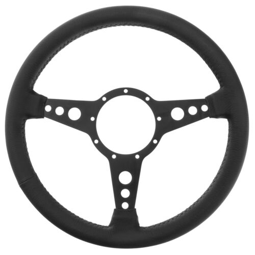 "Tourist Trophy Steering wheel 14/"" leather rim Black Matt Alloy drilled spokes"