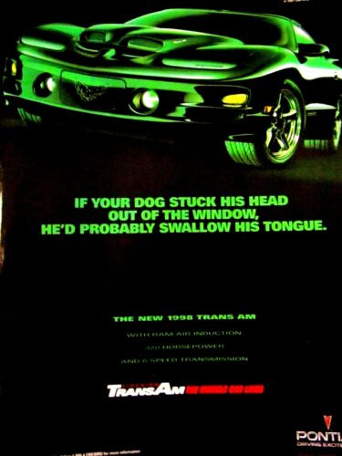 1998 Trans Am Ram Induction Dog Swallows Tongue Original Print Ad Green 9 x 11/""