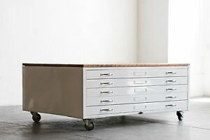 Image Is Loading Vintage Flat File Coffee Table In High Gloss