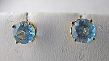14K Yellow Gold Blue Topaz Round Stud Pierced Earrings