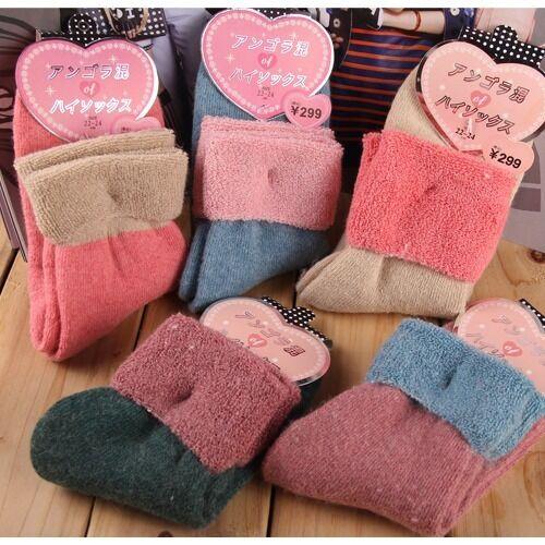 """Warm Winter"" 5 Pairs Womens Girls Socks Cute Soft Cozy Fuzzy Slippers Socks Sox"