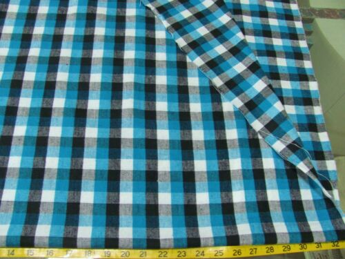 BTY VINTAGE BLUE YARN DYED PLAID  ALL COTTON FLANNEL FABRIC 43/""