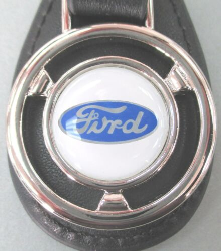 Vintage Ford OVAL Logo Mini Steering Wheel Leather Keyring 1939 1940 1941 1942