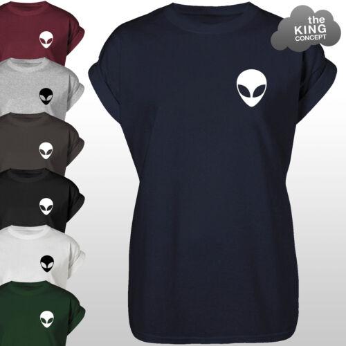 Alien Kopf T-Shirt Oberteil Alian UFO Fach Grunge Tasche Outline T-Shirt Hemd