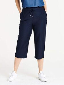Capsule ladies shorts plus size 16 18 22 24 28 30 navy drawstring linen blend