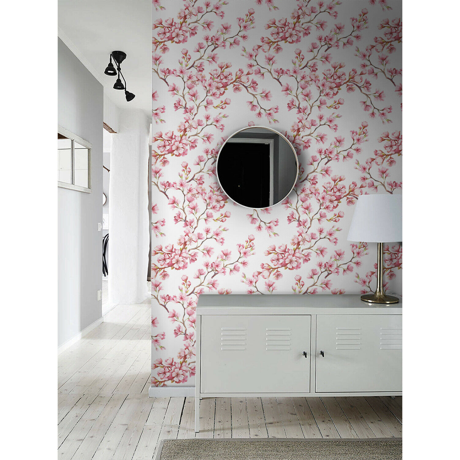 Cherry Blossom wall decor Floral removable wallpaper Flowers mural Self-adhesive