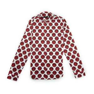 Moschino-Peace-Sign-Mens-Luxury-Embroidered-Shirt-Red-White