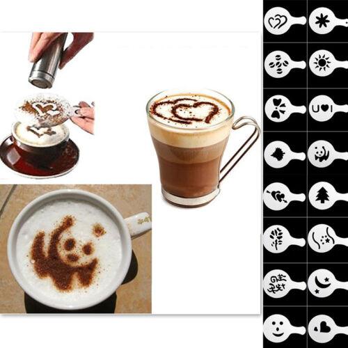 16 Kaffeemaschine Barista Schablonen Vorlage Streuen Blumen Pad Duster Spray Art