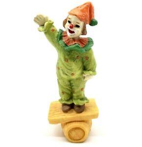 Vtg Porcelain Green Yellow Clown Balancing On Barrel Collectible Figurine 1985