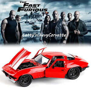 1-24-FAST-amp-FURIOUS-8-LETTY-039-S-CHEVY-CORVETTE-MODEL-DIECAST-CAR-COLLECTION-TOY