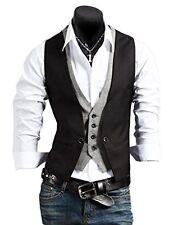 Mens Casual Slim Fit Jacket Vest Tuxedo Formal Business Suit Vest Tops Waistcoat