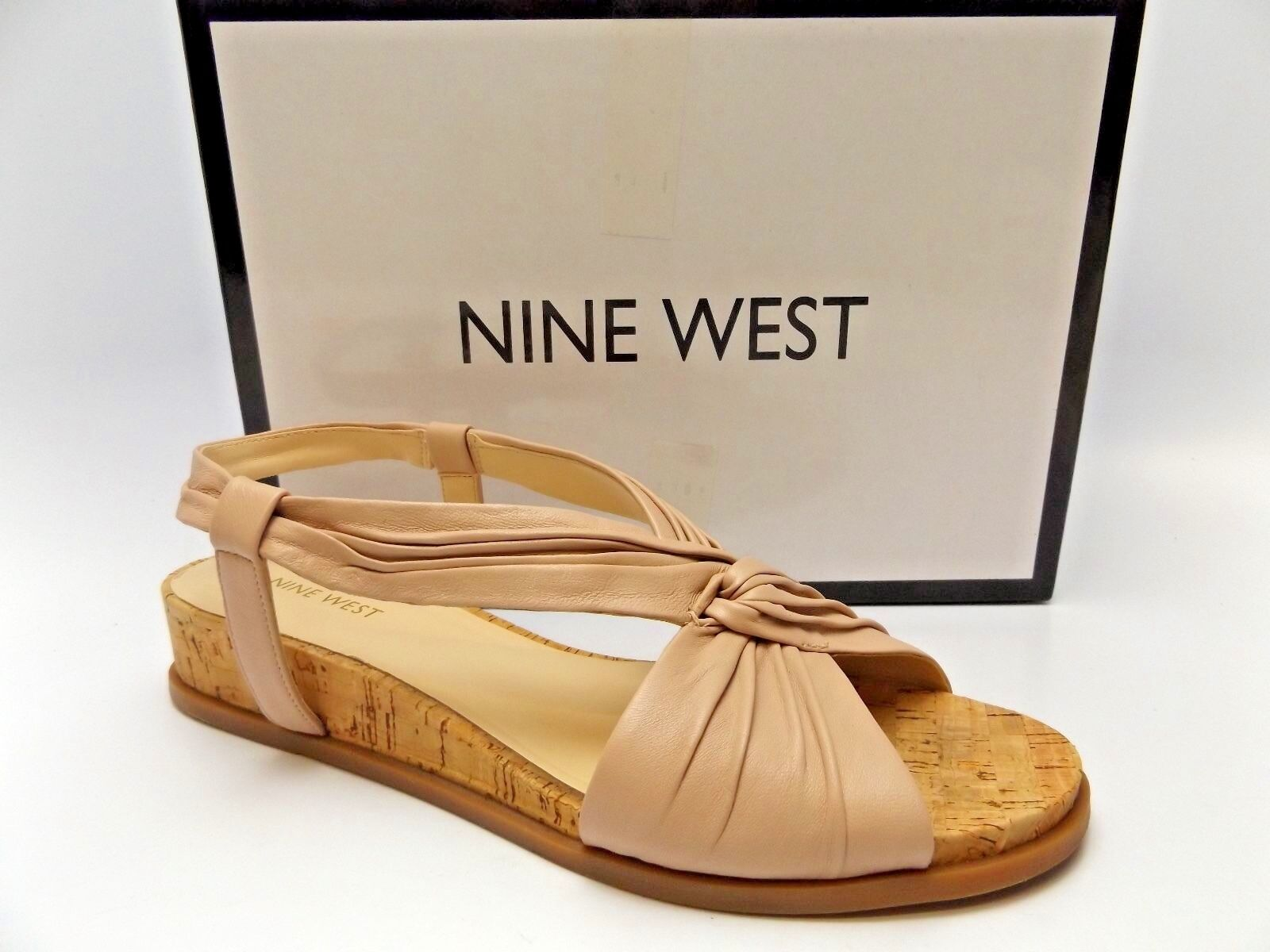 NINE Leather WEST Manwella Nude Pink Leather NINE Cork Low-Wedge Slingbacks SZ 9.0 M  D2876 b4239a