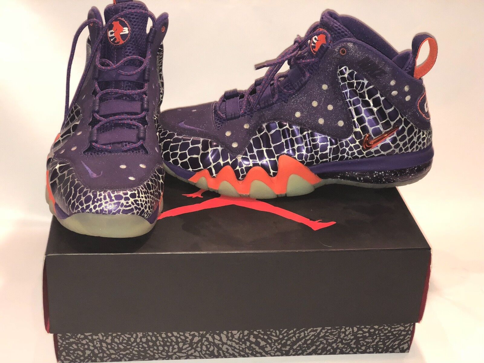 Nike Air Barkley Posite Max Sz 10 Suns Purple orange 555097 581 3M glow