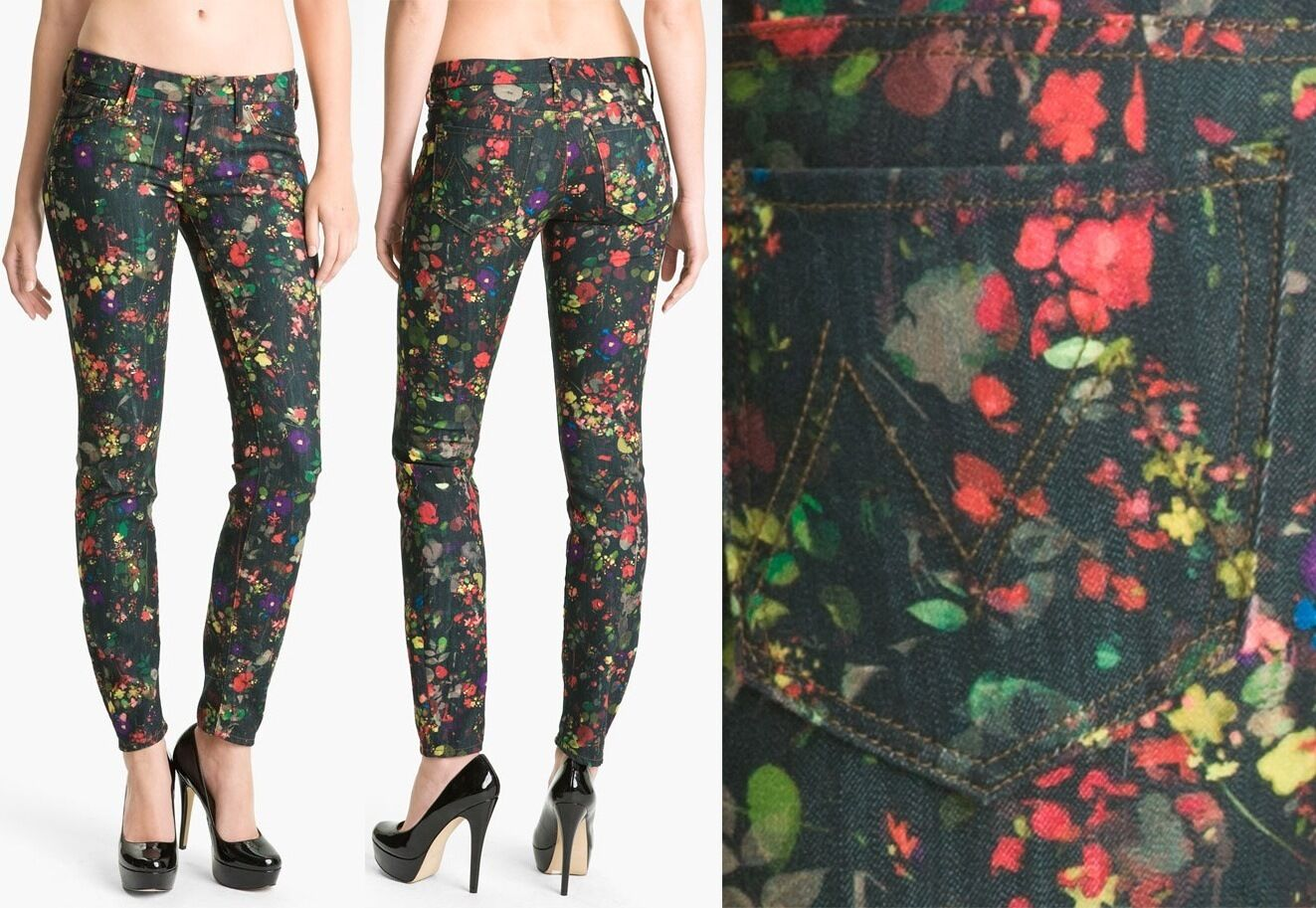 295 MOTHER DENIM The Looker Zip Ankle   MAGICAL FOREST   Floral JEANS ( 24 )