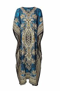 African-Dashiki-Hippie-Boho-Plus-Size-Blue-New-Women-Caftan-Kaftan-Maxi-Dress