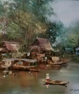 "ORIGINAL FRAMED OIL ON CANVAS ""THAILAND FISHING VILLAGE"" signed by N KAMPAN"