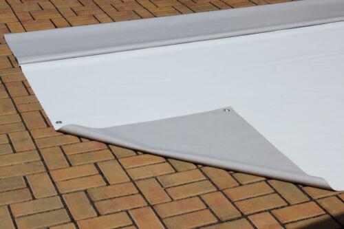370 gr//qm Weiß Grau B-Ware Abdeckplane Pavilion PVC Folie 3,19m x 3,90m ca