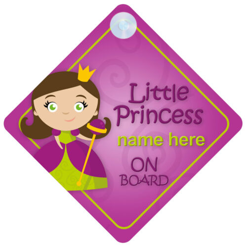 Princess on Board Personalised Girl Baby//Child Car Sign Loads of designs!