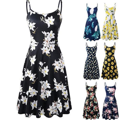 Womens Summer Sleeveless Floral Beach Dress Ladies Strapless Sundress Size 6-18