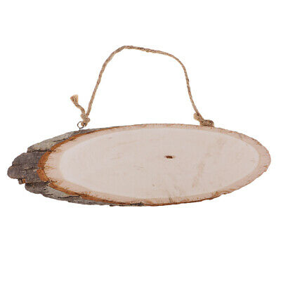 4x Large Rustic Natural Wood Pine Tree Slices Oval Wedding Hanging Decor DIY