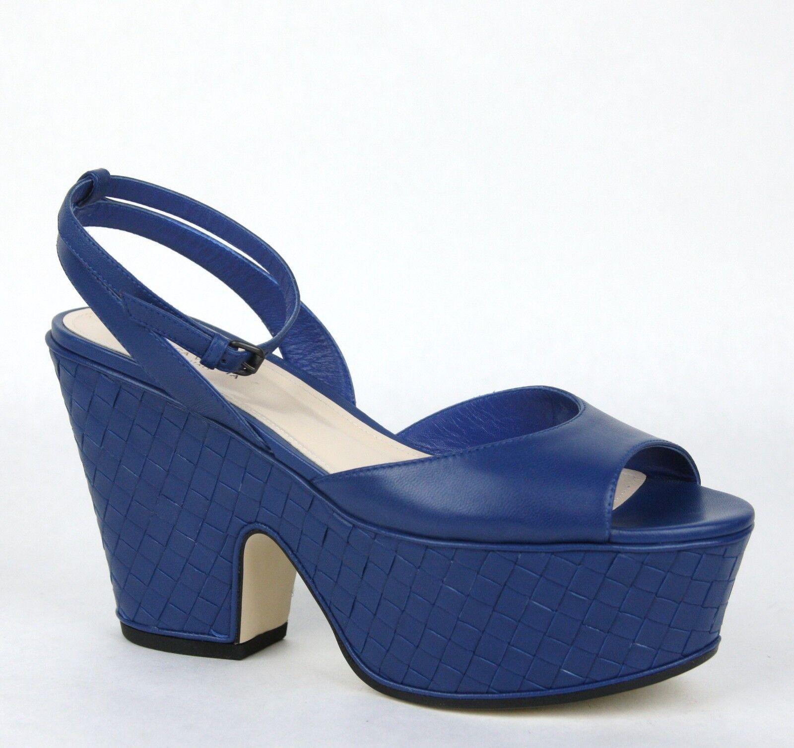 classico senza tempo    640 New Bottega Veneta Woven Leather Platform Wedge Sandal blu 338279 4217  perfezionare