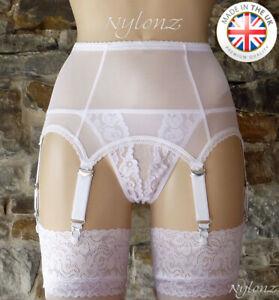 2bde12664 6 Strap Luxury Power Mesh Suspender Belt WHITE (Garter Belt) NYLONZ ...