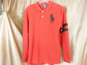 sold worldwide detailed look how to orders Details about Polo Ralph Lauren Men Long Sleeve Polo Shirt Big Pony  EMBROIDERED 14/16 Childs