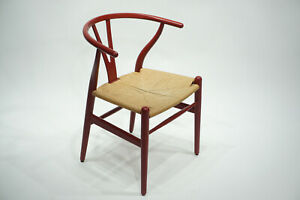 Hans-Wegner-Carl-Hansen-Wishbone-Chair-CH24-Eiche-60er-50er-Stuhl-Midcentury-Rot