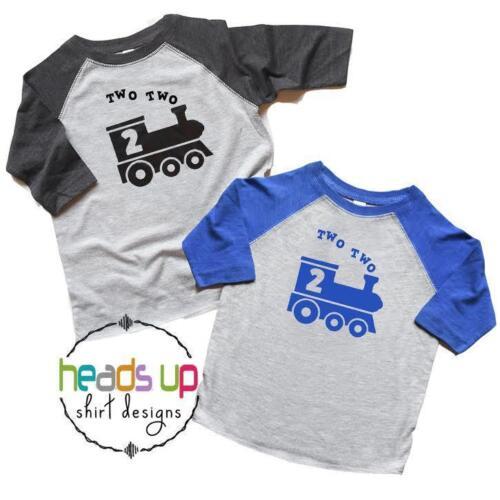 Twin Boys Train 2nd Birthday Shirts Two Raglan t-shirts Toddler Tees Kids Gift