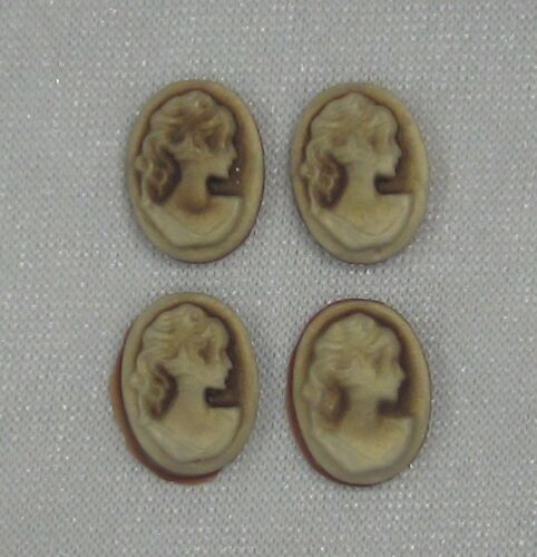Craft CAM303 4 x Brown Resin Lady Cameo Cabochons For Pendant Frame For Beading