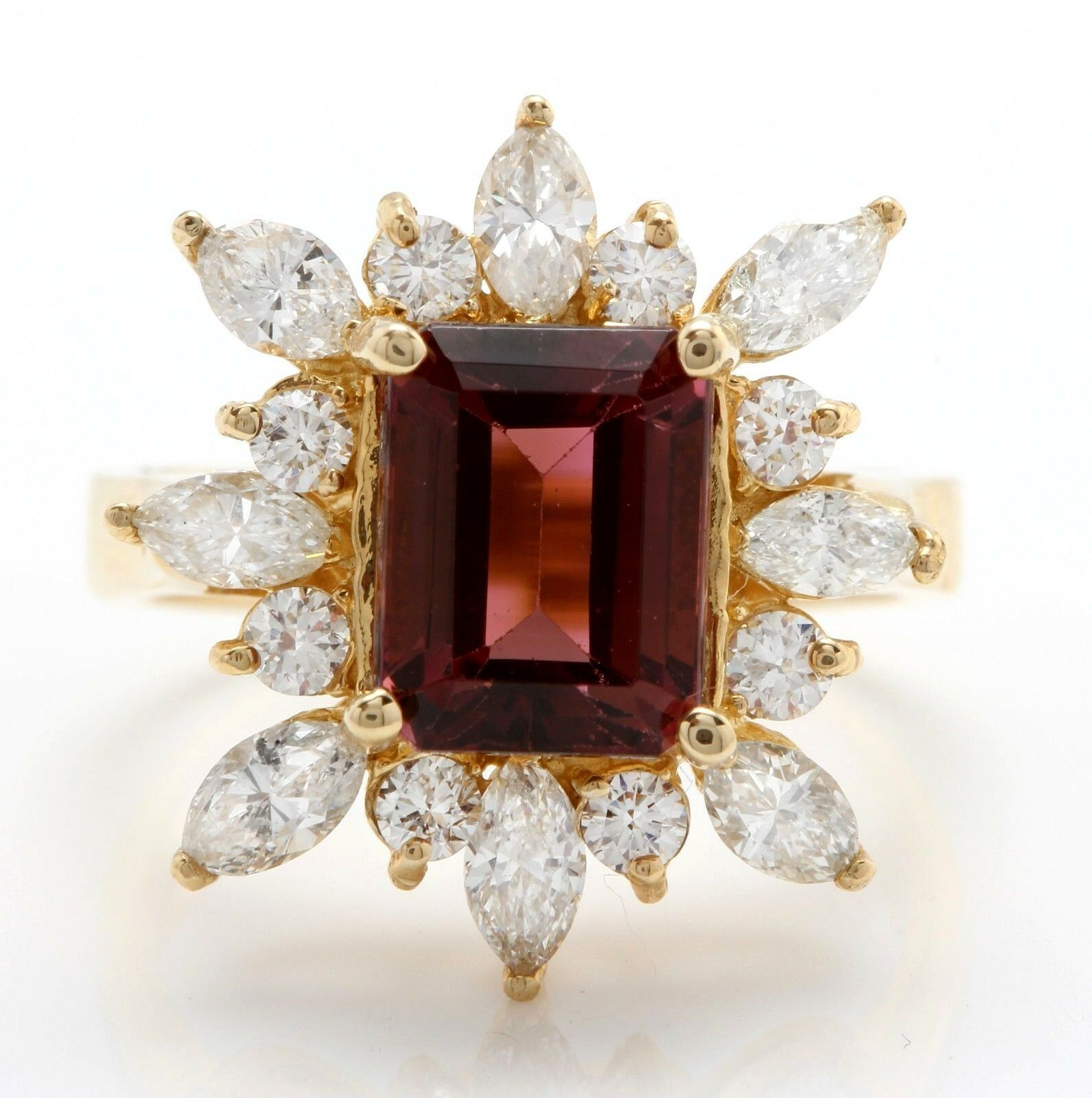 3.90 Carat Natural Tourmaline and Diamonds in 14K Solid Yellow gold Women Ring