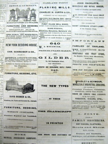 Rare original 1870 OAKLAND DAILY TRANSCRIPT newspaper CALIFORNIA 150 years old !