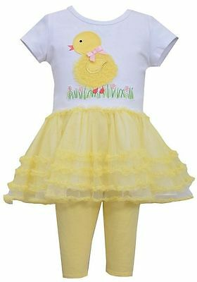 Bonnie Jean Girls Spring Easter Yellow Chick Mesh Tutu Outfit 12M 18M 24M New