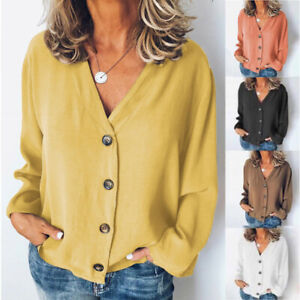V-Neck-T-Shirt-Cardigan-Down-Loose-Blouse-Button-Casual-Long-Sleeve-Womens-Tops