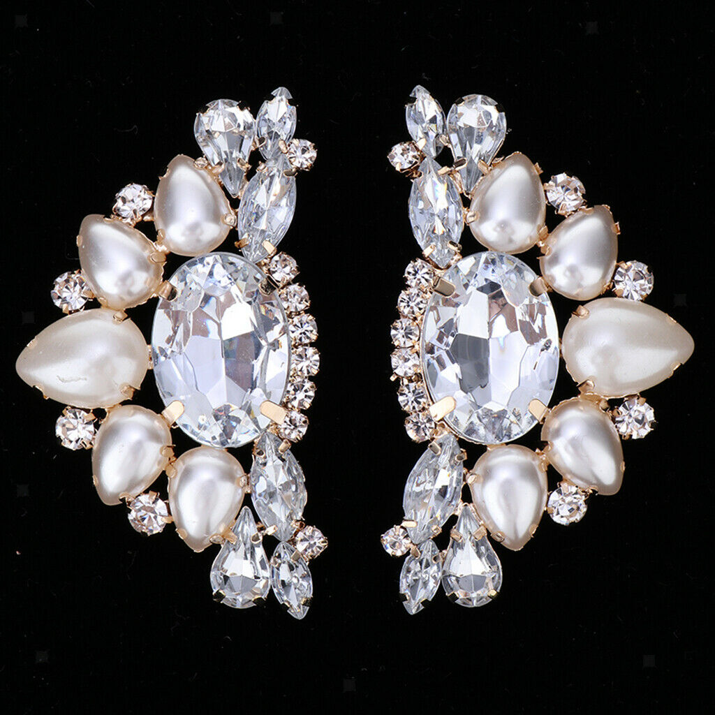 2x Super Shiny Rhinestone Shoe Charms Buckle Party Prom Removable Shoe Clips