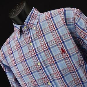 Mens-Polo-Ralph-Lauren-Classic-Fit-De-Rayas-Vestido-Camisa-Tamano-Grande-De-Golf-Rojo-Pony